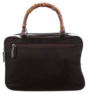 Gucci Bamboo Leather-Trimmed Satchel - BROWN - STYLE