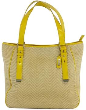 Cole Haan Yellow Woven Bag w/Patent Leather Trim