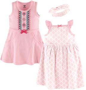 Hudson Baby Pink Geometric Dress & Headband Set - Newborn & Infant
