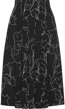 Carven Pleated Printed Crepe Midi Skirt - Black