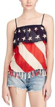 Denim & Supply Ralph Lauren Stars & Stripes Printed Sleeveless Blouse.