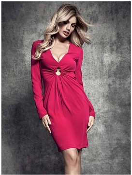 GUESS Plunge-Neck Midi Dress
