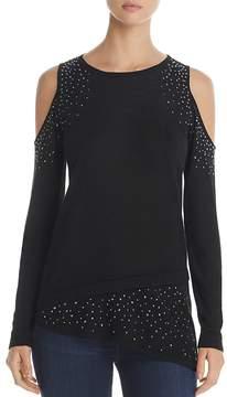 Design History Studded Cold Shoulder Asymmetric Sweater