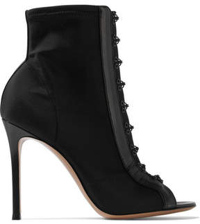 Gianvito Rossi 100 Leather-trimmed Stretch-faille Boots - Black