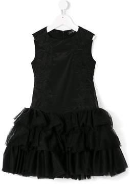 John Richmond Kids embroidered sleeveless satin dress