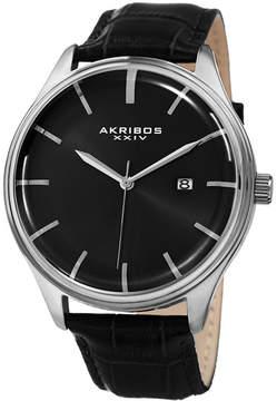 Akribos XXIV Mens Black Strap Watch-A-914ssb