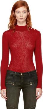 Balmain Red Mohair Buttoned Turtleneck