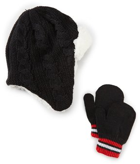 Starting Out Baby Boys Cable-Knit Pilot Beanie Hat & Mittens Set