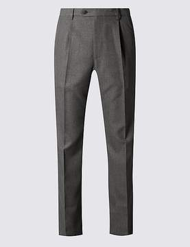 Marks and Spencer Regular Fit Single Pleated Trousers