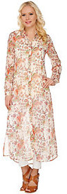 C. Wonder Classic Floral Print Button Front Chiffon Duster