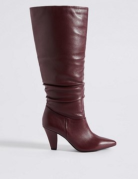 Marks and Spencer Leather Side Zip Knee Boots