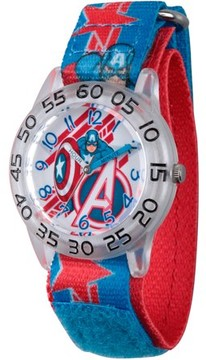 Marvel Marvel's Avengers Assemble Captain America Boys' Clear Plastic Time Teacher Watch, Blue and Red Captain America Stretchy Nylon Strap