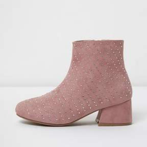 River Island Girls pink studded block heel ankle boots