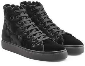 Simone Rocha Velvet High-Top Sneakers