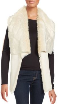 Bagatelle Faux Fur Lapel Open Front Vest