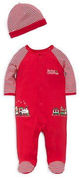 Little Me Boys' Striped Christmas Train Footie & Hat Set - Baby