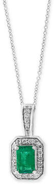 Effy Final Call by Emerald (1/2 ct. t.w.) & Diamond (1/8 ct. t.w.) 18 Pendant Necklace in 14k White Gold