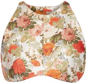 Emilia Wickstead Joanna woven floral-gazar crop top