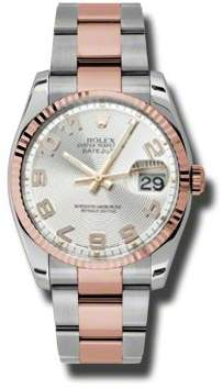 Rolex Oyster Perpetual Datejust 36 Silver Concentric Dial Stainless Steel and 18K Everose Gold Bracelet Automatic Men's Watch