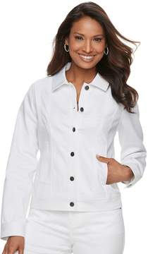 Dana Buchman Women's White Jean Jacket