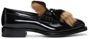 Prada Black Fur Loafers