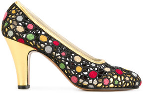 Salvatore Ferragamo embroidered lattice pumps