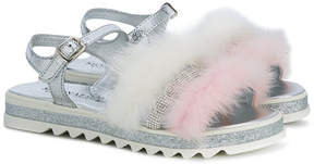 MonnaLisa glittery fluffy sandals