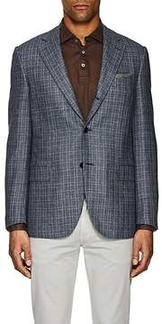 Caruso MEN'S TEXTURED PLAID SILK-WOOL THREE-BUTTON SPORTCOAT