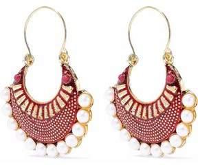 Kenneth Jay Lane Gold-Tone Faux Pearl And Enamel Earrings