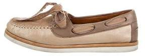 Lanvin Suede Round-Toe Loafers