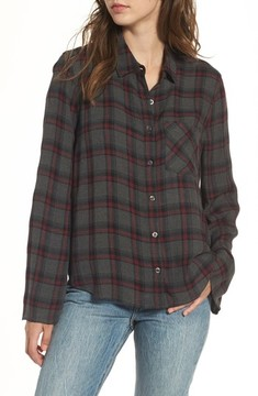 BP Women's Flare Sleeve Plaid Shirt