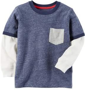 Carter's Baby Boy Pocket Slubbed Contrast Long Sleeve Blue Ringer Tee