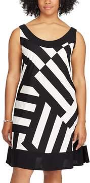Chaps Plus Size Asymmetrical Stripe A-Line Dress