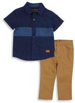 7 For All Mankind Baby's Two-Piece Collared Shirt& Pants Set