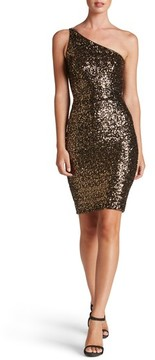 Dress the Population Women's Cher One-Shoulder Sequin Body-Con Dress
