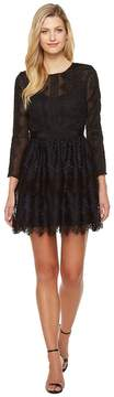Adelyn Rae Suzanne Woven Lace Long Sleeve Fit and Flare Women's Dress
