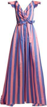 Carolina Herrera Striped frilled-sleeve gown