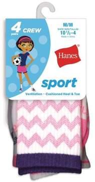Hanes Sport Crew Socks, 4 Pairs (Little Girls & Big Girls)