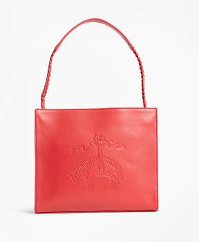 Brooks Brothers Golden Fleece-Embossed Leather Handbag