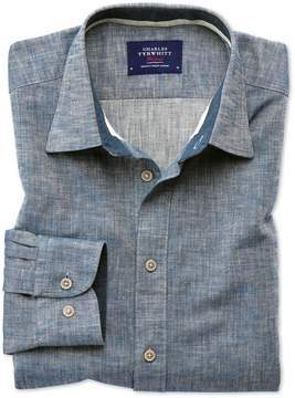 Charles Tyrwhitt Slim Fit Popover Herringbone Denim Blue Cotton Casual Shirt Single Cuff Size XS