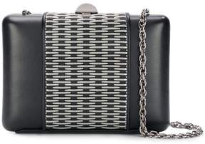 Rodo metal appliqué clutch bag