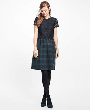 Brooks Brothers Short-Sleeve Mixed-Media Dress