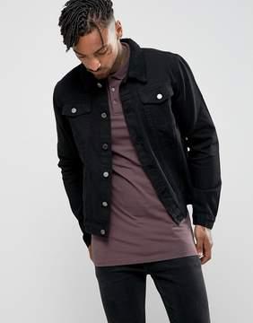 Criminal Damage Denim Jacket With Fleece Collar