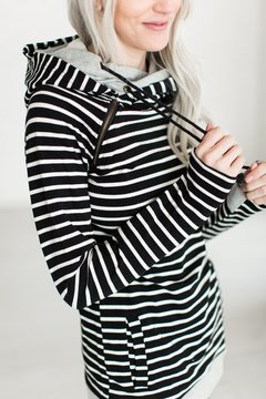 Ampersand Avenue DoubleHoodTM Sweatshirt - Black Stripe