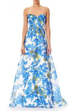 Carolina Herrera Sweetheart-Neck Floral-Print Evening Gown