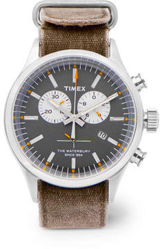 Timex Archive Waterbury Chronograph Stainless Steel And Oiled-Canvas Watch