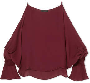 Nili Lotan Devon Cold-shoulder Smocked Silk-crepe Blouse - Red