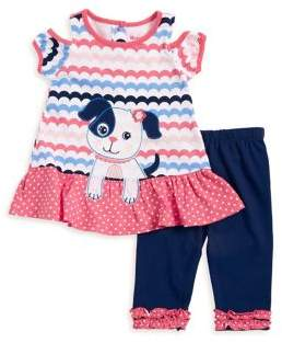 Nannette Baby Girl's Puppy Two Piece Tee and Pant Set