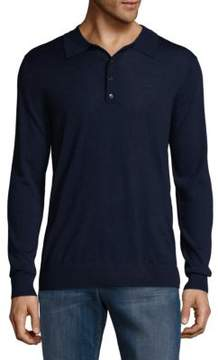 Blend of America Silk & Wool Heathered Long Sleeve Polo