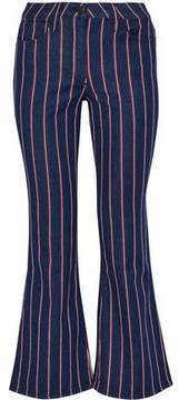 3x1 Cropped Striped Mid-Rise Flared Jeans